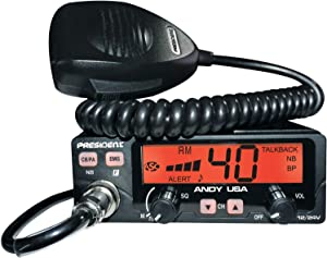 President ANDY Compact AM CB Radio, Multi-functions LCD Display, 7 Wweather Channels, 40 Channels AM, 12/24 Volts, Up/Down Channel Selector, Volume Adjustment and ON/OFF, ANL and NB Filters