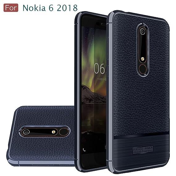 huge discount d3d5a 8766e Nokia 6 2018 Case, Nokia 6.1 Case, Wellci Flexible TPU Soft Skin Silicone  Cover for Nokia 6 2018 (Navy)