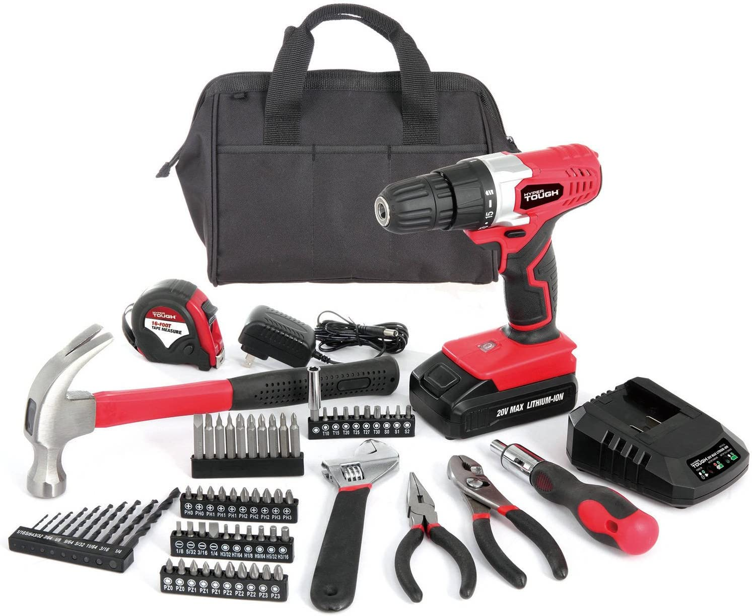 Goplus 18V Cordless Drill Driver Set with 78-Piece, 16 Position Keyless Torque Clutch, Variable Speed Construction Work Screwdriver with Professional Case, Max 3 8-Inch
