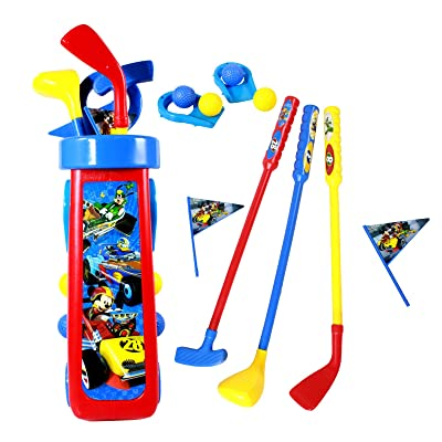 Disney Mickey Mouse Kids Golf Caddy Playset with Balls Clubs and Holes Gift: Toys & Games