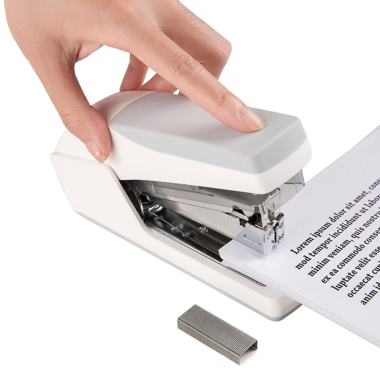 Volcanics Office Stapler Heavy Duty Small Desk Stapler Mini Stapler Set with Staples White