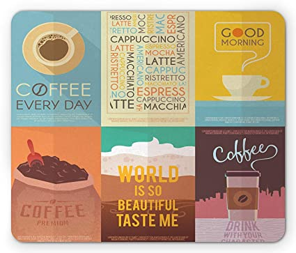 Coffee Mouse Pad, Collection of Coffee Themed Artworks with Typography Vintage Ornament Print, Standard