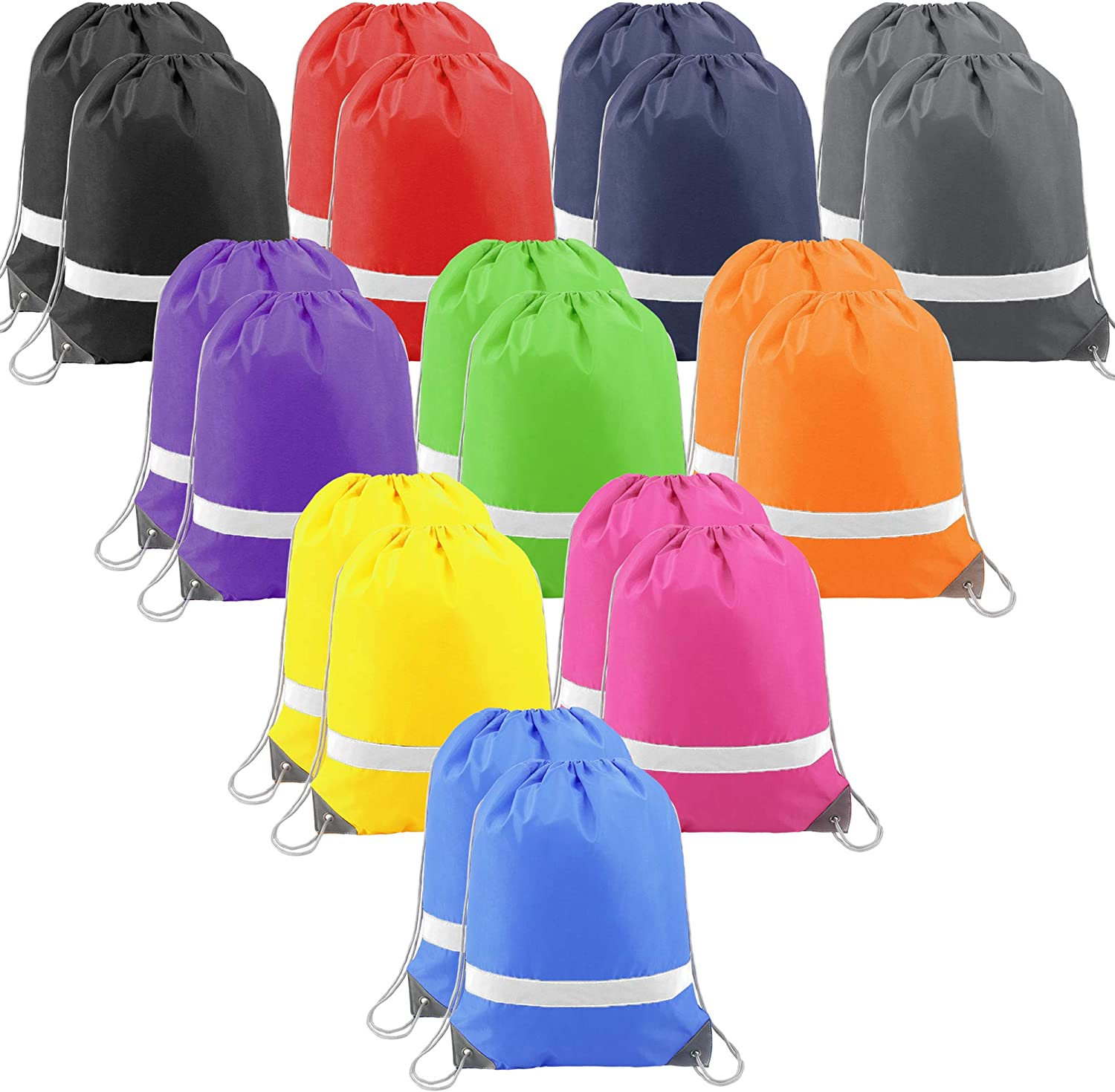 20 Pieces Reflective Drawstring Backpack Bags Gym Sports String Bags Cinch Bags