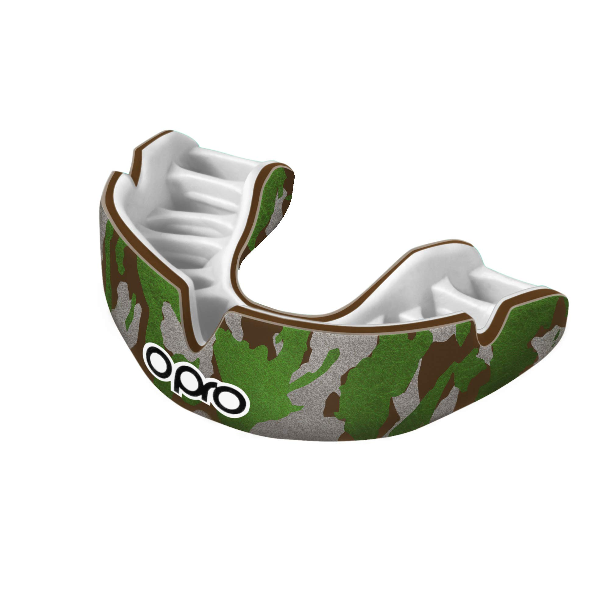 OPRO Power-Fit Mouthguard | Gum Shield for Rugby, Hockey, Wrestling, and Other Combat and Contact Sports (Adult and Junior Sizes) - 18 Month Dental Warranty (Camo - Brown/Green/Silver, Junior)