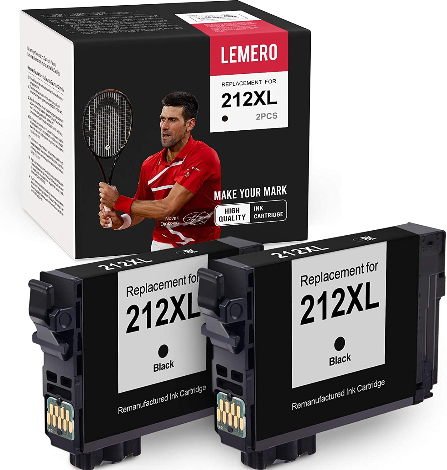 LEMERO Upgarde Chip Remanufactured Ink Cartridge Replacement for Epson 212 212XL T212XL to use with Workforce WF-2830 WF-2850 Expression Home XP-4100 XP-4105 (2 Black)