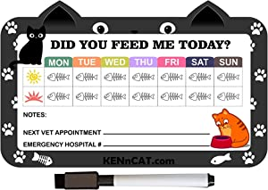 KENnCAT Pet Feeding Reminder Magnet, Magnetic Dry Erase Sheet for Fridge with Magnetic Pen and Eraser - Two Designs - for Dogs and Cats - Smooth Writing Surface in a Pet Care Organizing Layout