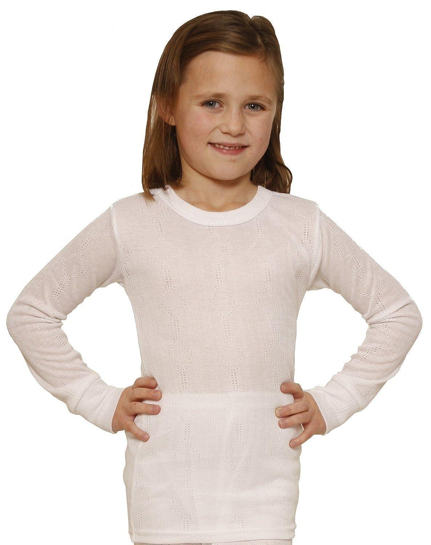 Octave Mädchen Thermo-Unterwäsche - Langarm-Shirt - Viskose - Strickmuster - weiß - 2-3 Jahre [Brust: 45, 7-50, 8 cm]