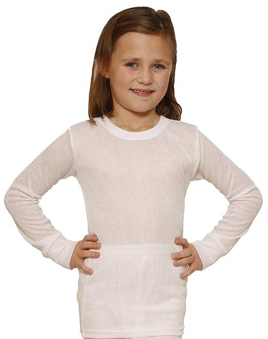0fc0e4625a Octave Bambina Set di biancheria intima termica Maglietta a maniche lunghe  & pantaloni bianco 61/