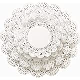 200 Paper Lace Doilies Variety Pack 5 6 8 and 10 inch (50 of each size) White Round Doily Assorted Sizes