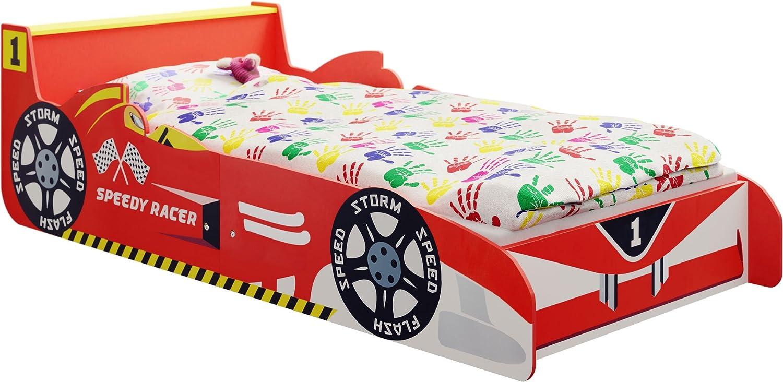 IB-Style - Lit voiture Speedy Racer Junior pour enfant - formula 1 rouge 140 x 70 cm avec Aile Arrière comme une table de chevet et lattes de sommier Inclus - chambre d'enfant