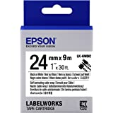 "Epson LabelWorks Self Laminating Cable Wrap LK (Replaces LC) Tape Cartridge ~1"" Black on White (LK-6WBC) - For use with LabelWork LW-600P and LW-700 label printers"