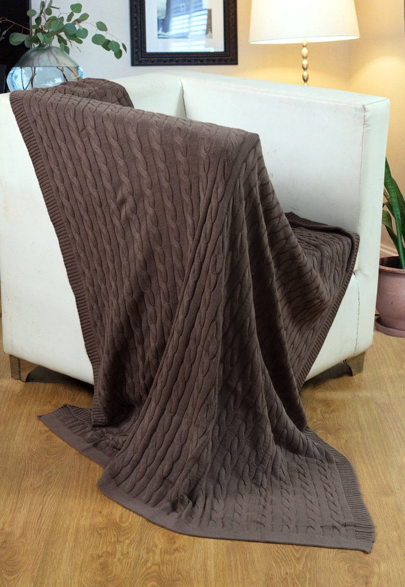 Mocha 125 x 150cms-Mocha Single Cotton EHC 100/% Combed Cable Knit Super Soft Decorative Sofa Bed Throw Snuggle Blanket