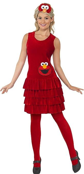 amazoncom smiffys womens sesame street elmo costume dress and headband size 4 6 clothing - Halloween Costumes Elmo