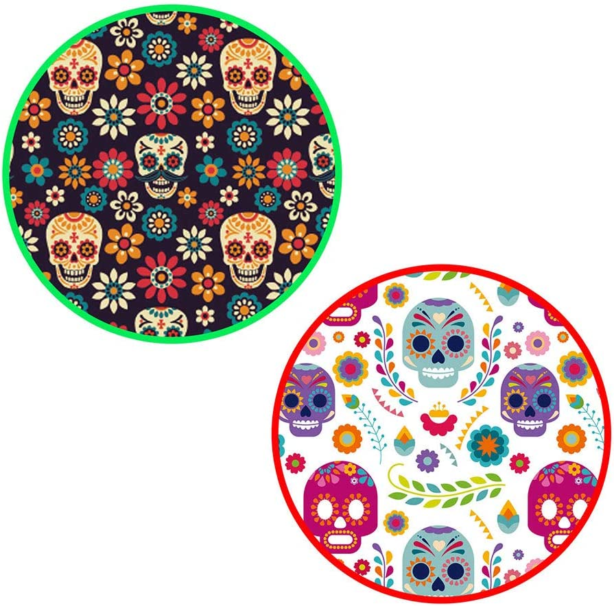 """Microwaveable X-Large Tortilla Warmer Pouch 2 Pack - 2 Fun Designs""""Skulls"""" to make taco night special. 12 Inch in Diameter Microwave Corn or Flour Tortillas, Pizza, Naan Bread"""