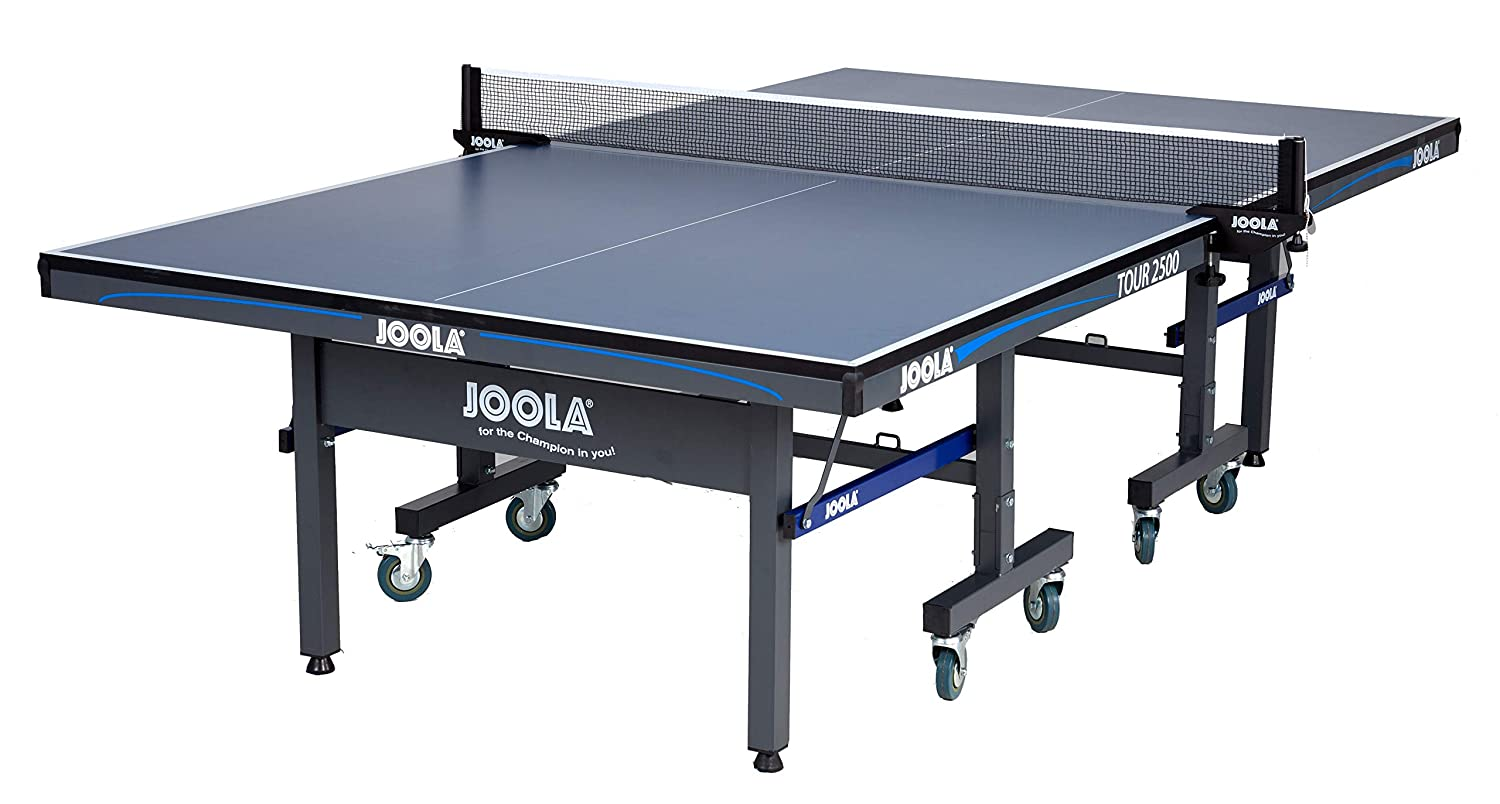 10 Minutes Easy Assembly Ping Pong Table with Single Player Playback Mode USATT Approved Competition Grade MDF Indoor Table Tennis Table with Quick Clamp Ping Pong Net Set JOOLA Tour