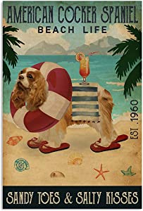 Vintage Beach Life Sandy Toes & Salty Kisses American Cocker Spaniel Poster Wall Art Print Decor Office Bedroom Living Room 24x36 Inches