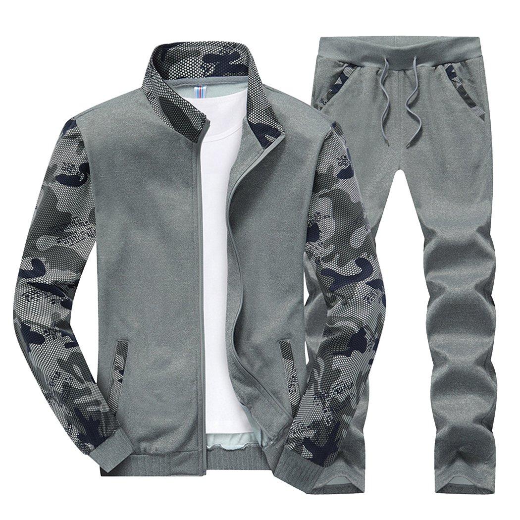 Sun Lorence Men's Sports Camo Sweatshirt With Jogger Pants Sweat Suit Tracksuit Set Darkgrey XXXL