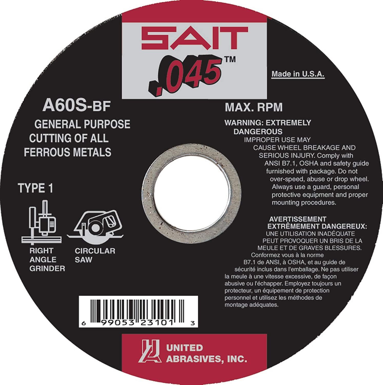 United Abrasives-SAIT 23106 Type 41/1 6-Inch x .045 Inch x 7/8-Inch Grade A60S General Purpose Cutting Wheels, 50-Pack