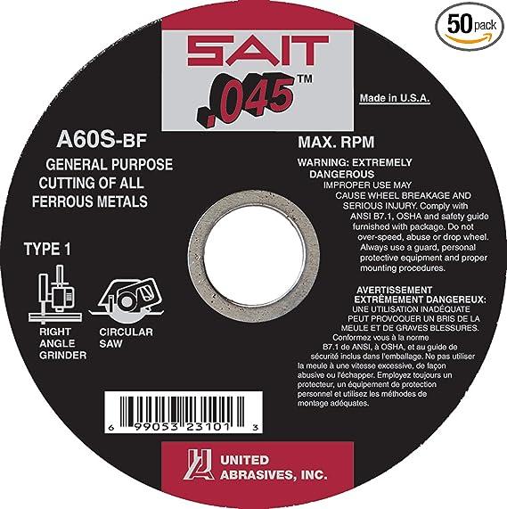 50-Pack United Abrasives SAIT 23101 Type 1 4-1//2x .045x7//8 A60S Cut-Off Wheels
