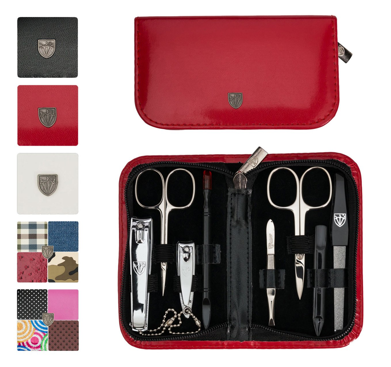 3 Swords Germany - brand quality 8 piece manicure pedicure grooming kit set for professional finger & toe nail care scissors clipper fashion leather case in gift box, Made in Solingen Germany (003065)