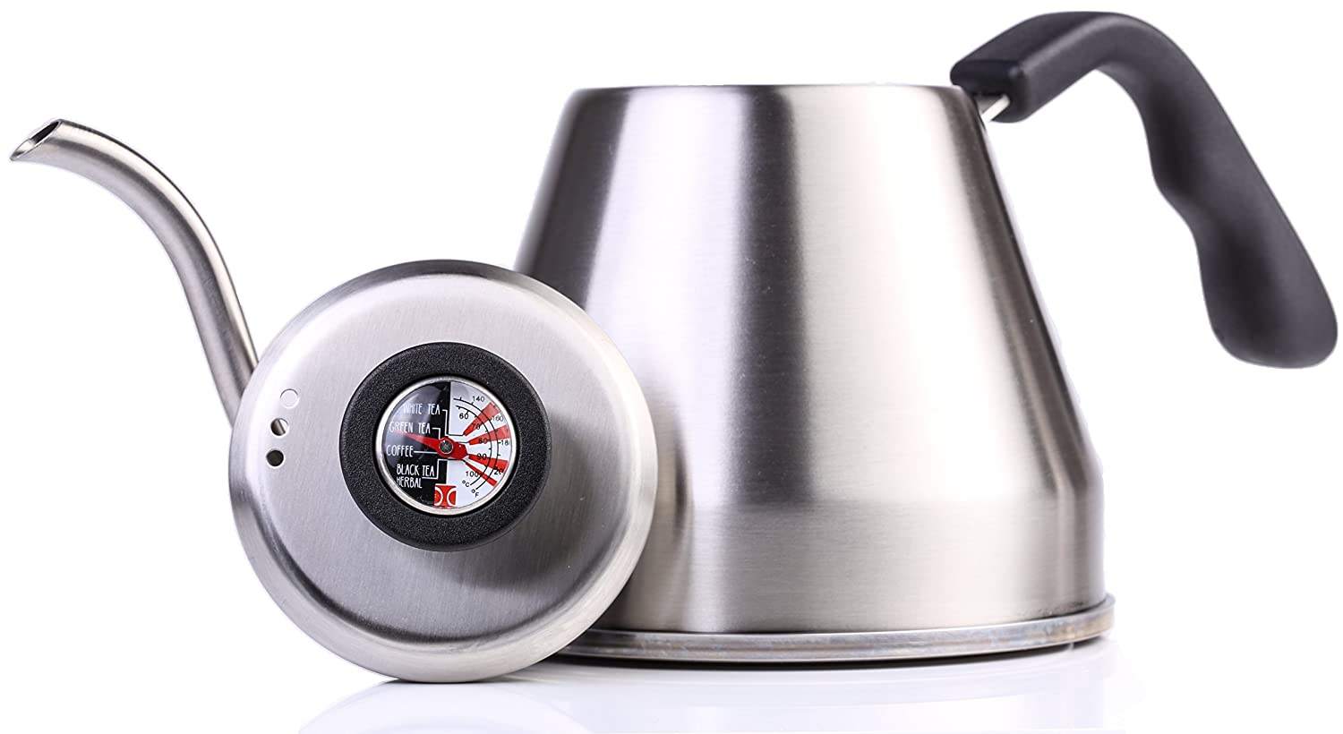 Pour Over Kettle 1.2L I Tea Kettle with Built-In Thermometer, Gooseneck Spout, Heat Resistant Handle, Brushed Stainless Steel Body, by The Elan Collective - Rich Black