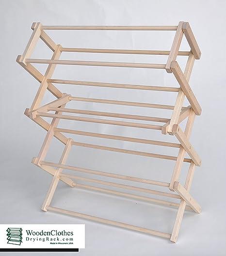 Amazon.com: Pequeñas de madera ropa rack de secado por ...