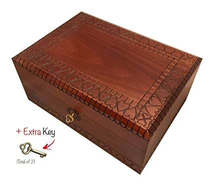 Amazoncom Extra Large Wooden Box with Lock and Key Polish Handmade