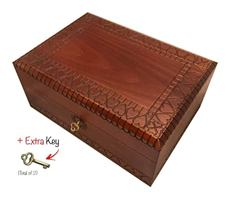 Heart Design Large Wooden Box With Lock And Key Polish Handmade Linden Wood Hearts Keepsake Jewelry