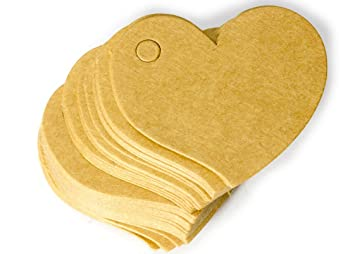 50 X Herzform Anhängeschild 4,6x4,2cm Herz Papier Braun Preisschild  Namensschild Geschenk Hochzeit