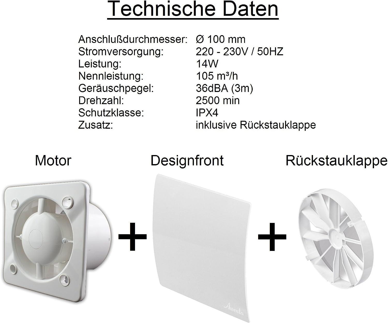 Di/ámetro de 100 mm de dise/ño Badventilator con colour blanco brillante doblada con la humedad sensor higrostato y temporizador y v/álvula antirretorno WEB100H ventilador de pared Ventilador de retenci/ón de ventilador de la instal