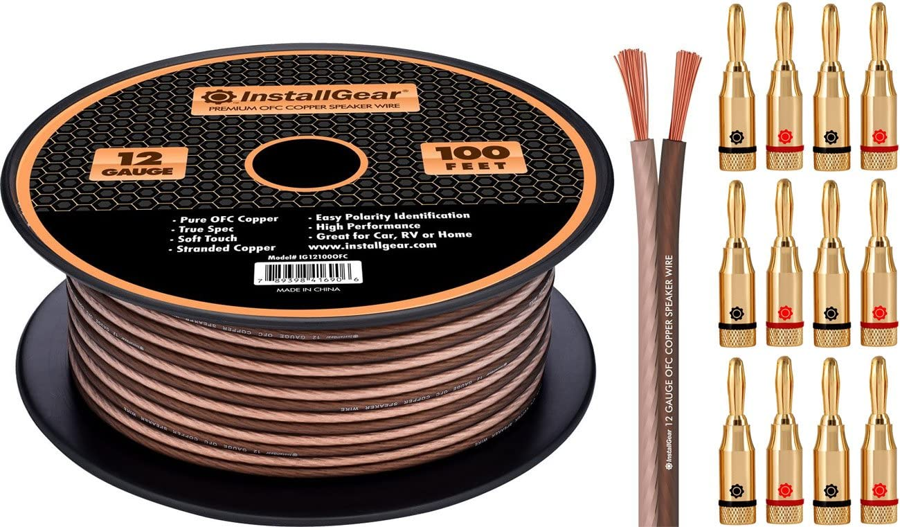 InstallGear 12 Gauge Speaker Wire - 99.9% Oxygen-Free Copper - True Spec and Soft Touch Cable (100-feet): Electronics