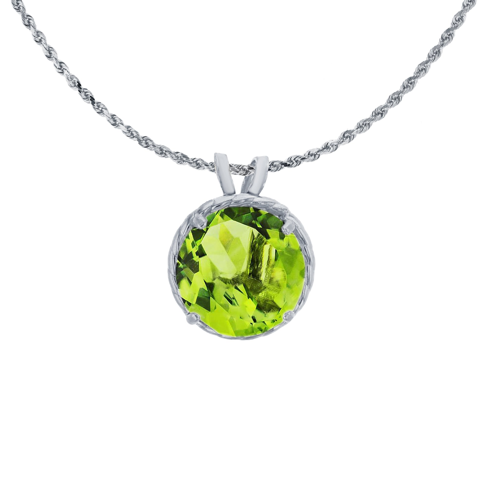 14K White Gold 7mm Round Cut Peridot Rope Frame Rabbit Ear 18'' Rope Chain Necklace by Decadence