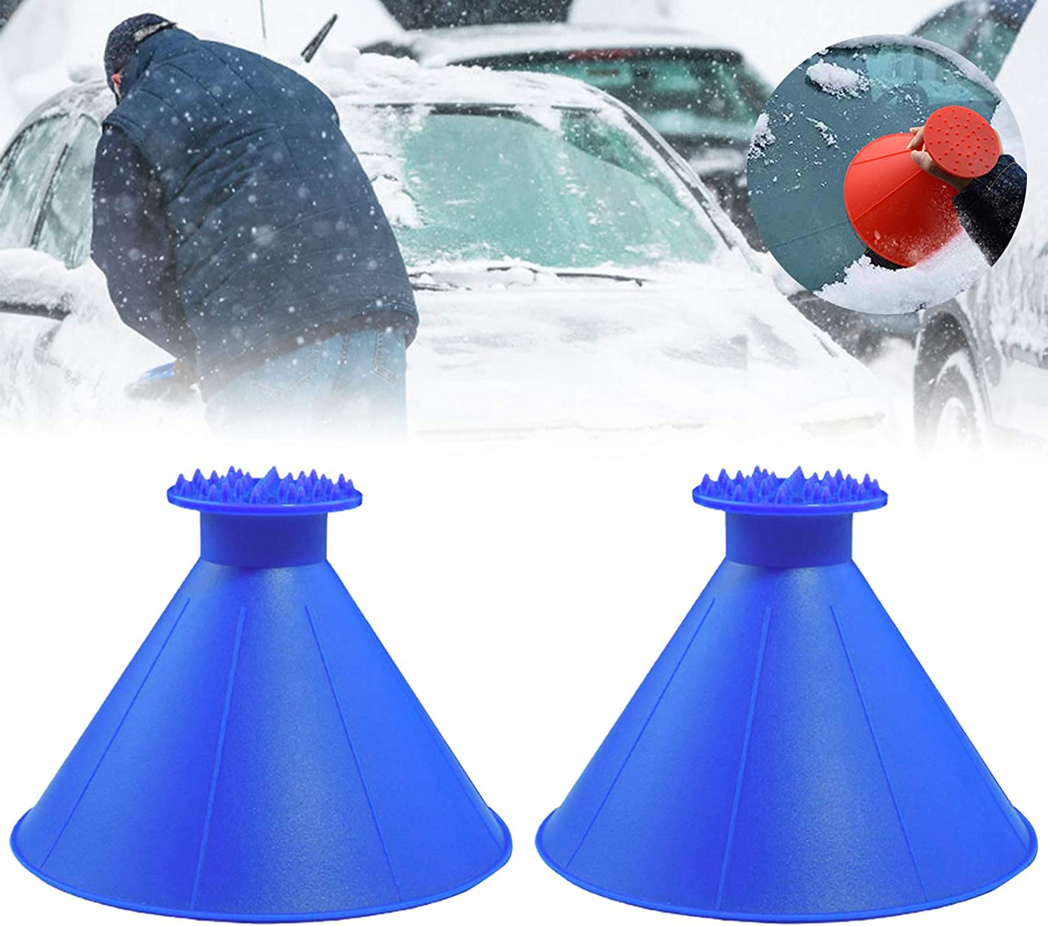 Magical Car Ice Scraper with Funnel,2 Pack Cone Windshield Ice Scrapers,Round Snow Scraper for Car 4 Color