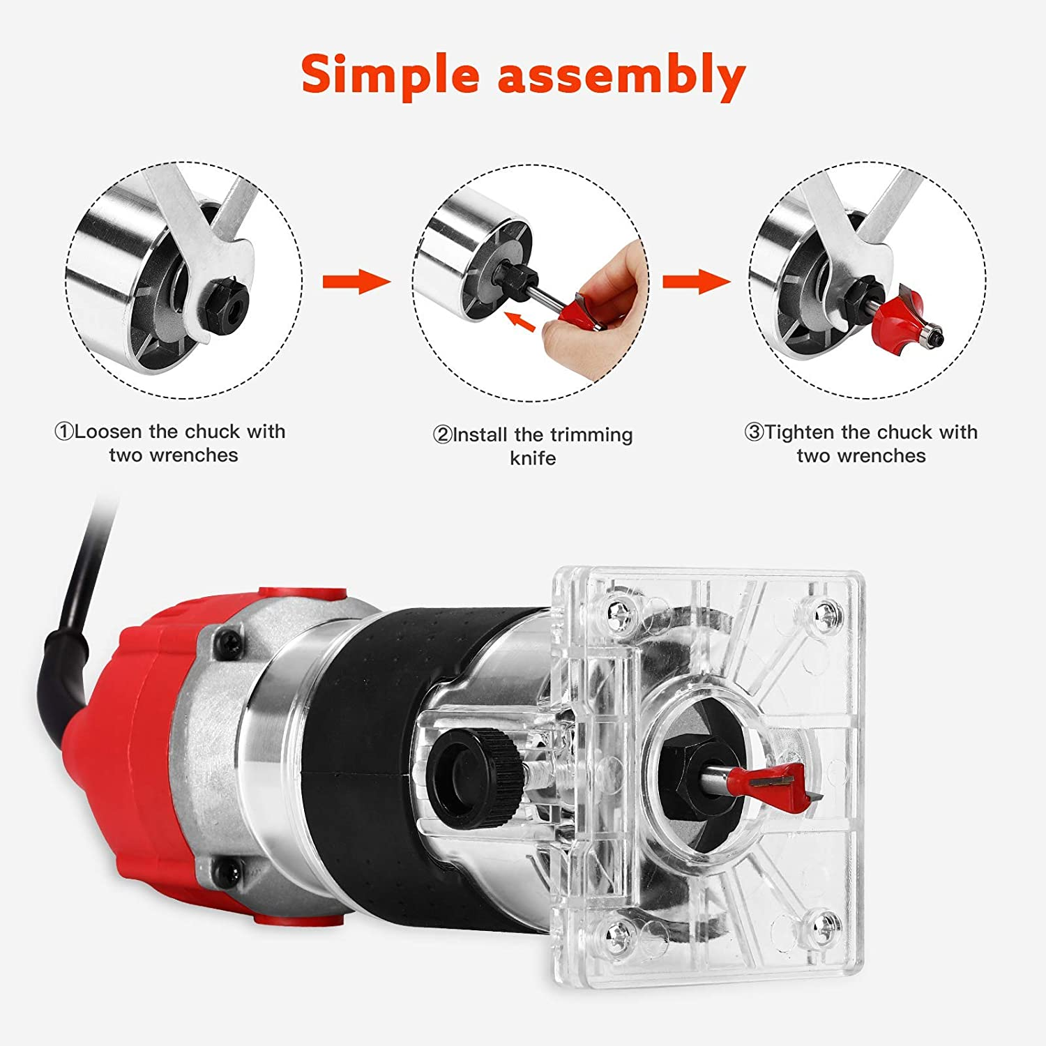 Chuck Diameter 6.35mm APROTII 800W Electric Hand Trimmer Wood Router Laminator Trimming Grooving Red