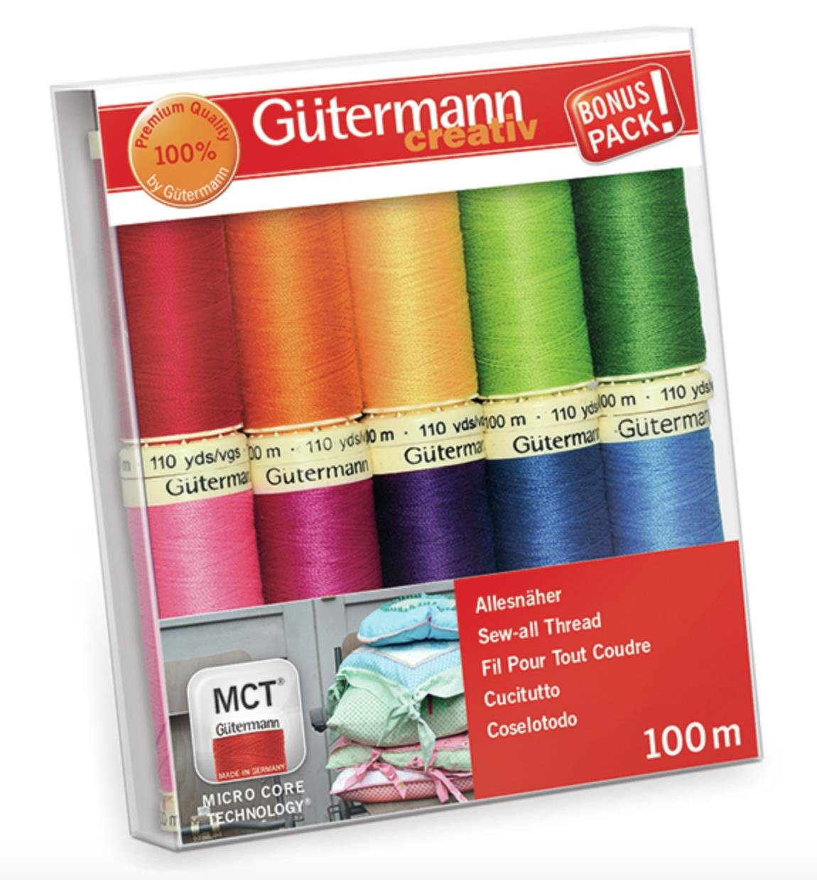 Gutermann Sew-All Colorful Set 100% Polyester Thread Set 10 x 100m Reels GUT_734006-3