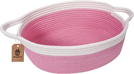 "Goodpick Small Woven Basket | Cute Pink Rope Basket | Baby Cotton Basket | Nursery Room Storage Basket | Toy Chest Box with Handles Basket 12""x 8"" x 5"" Oval Candy Color Design best Easter basket"