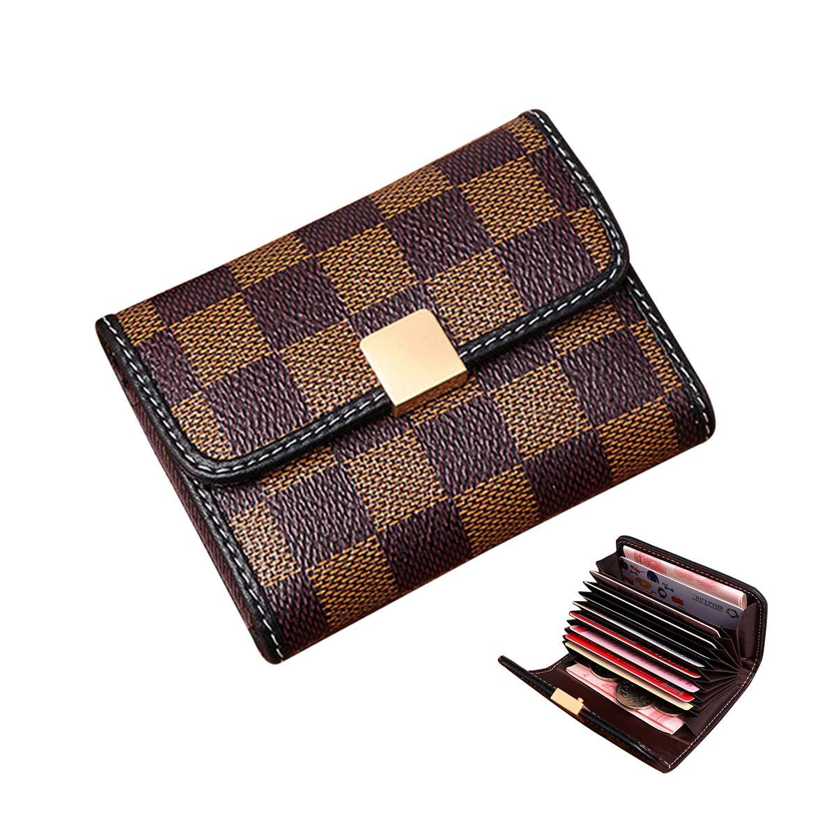 Women Designer Wallet Rfid Blocking Credit Card Holder Wallets Pu Leather Small Accordion Ladies Purse - Brown