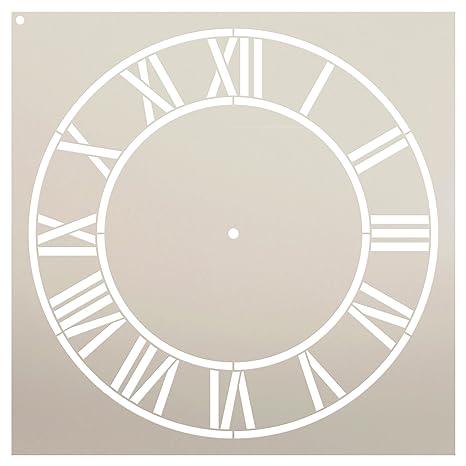 StudioR12 - Plantilla de reloj para el hogar con números romanos – Plantilla reutilizable de Mylar