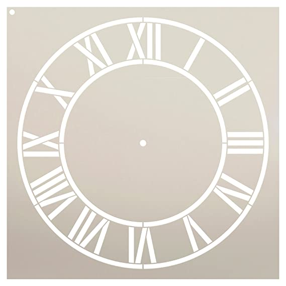 "Country Home Clock Face Stencil by StudioR12 | Roman Numerals Clock Art - Reusable Mylar Template | Painting, Chalk, Mixed Media | DIY Decor - STCL2332 - SELECT SIZE (24"" Diameter)"