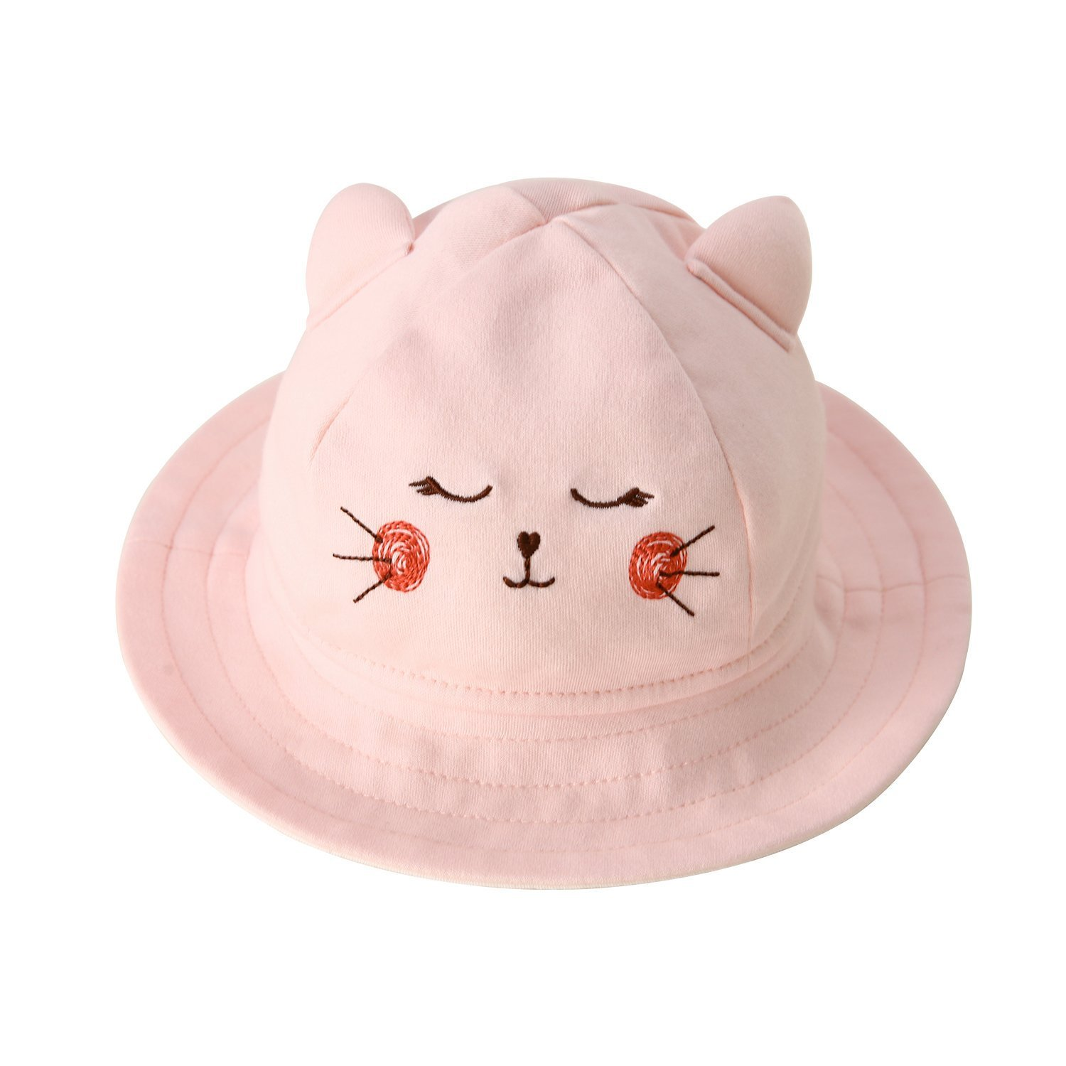 Baby Toddler Kids Breathable Sun Hat Animal Bucket Hat with Wide Brim for Boys & Girls Spring Summer Pink 3-6 Months