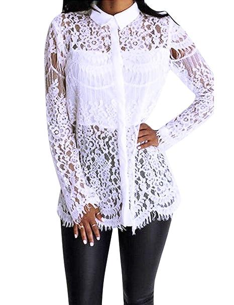 Blusa de encaje de mallas para las mujeres, blusa blanca elegantes flores bordadas Hueco encaje