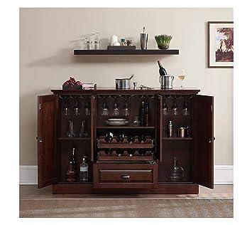Aprodz Mango Wood Peetz Royal Stylish Bar Cabinet with Wine Glass Storage for Living Room | Chestnut Finish