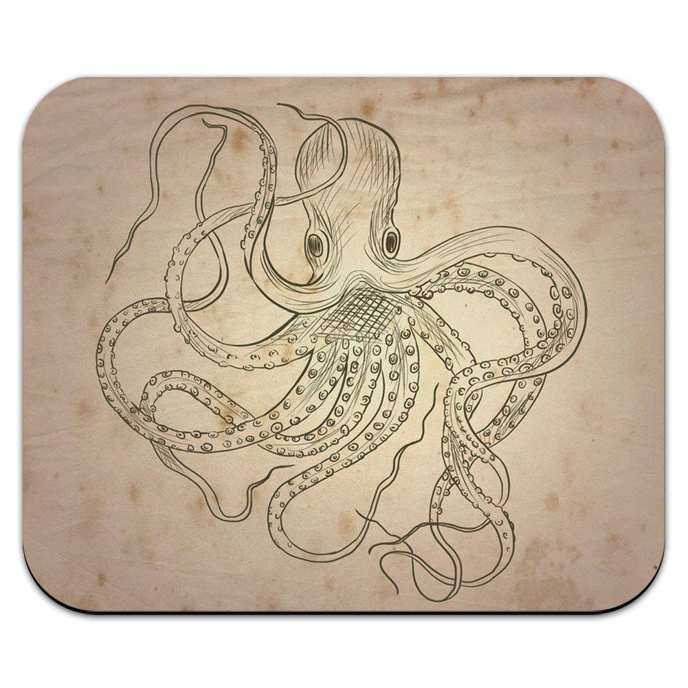 Vintage de tinta dibujados pulpo – monstruo marino tatuaje ratón ...