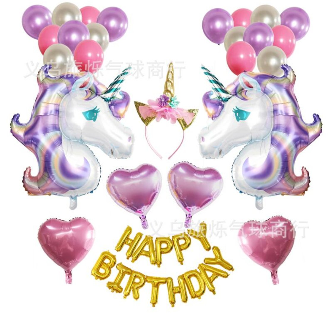 Tmrow 1set Unicorn Party Supplies and Decorations Set - With Glitter Unicorn Headband Unicorn Balloons Gold Happy Birthday Banner Latex & Foil Balloons Unicorn Theme Decor Pack