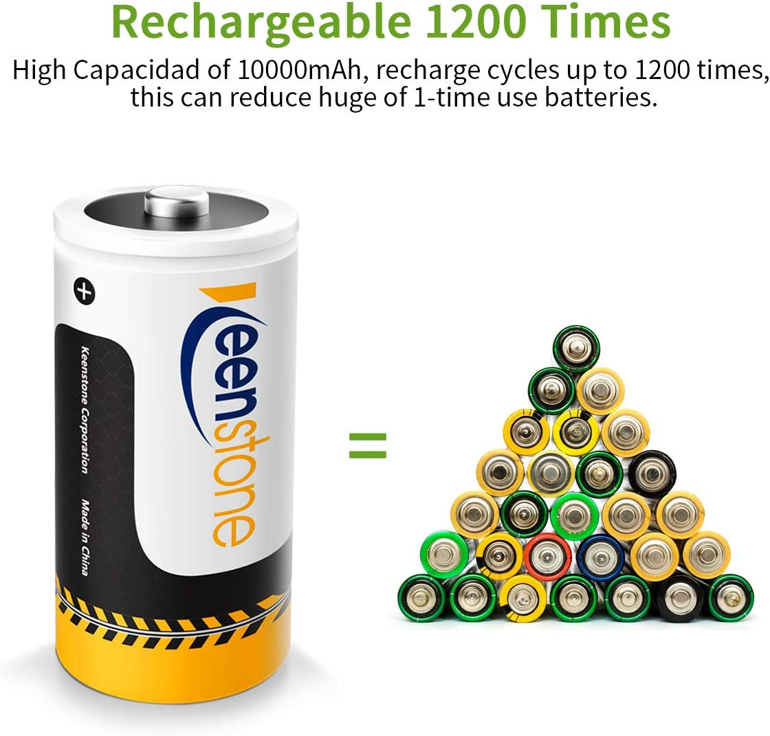 4-Pack Rechargeable D Batteries Keenstone 1.2V High Capacity D Size Battery D Cell Rechargeable Batteries 10000mAh Ni-MH