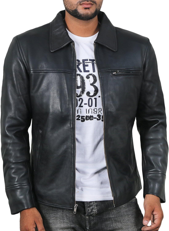 Black, Aviator Jacket Laverapelle Mens Genuine Lambskin Leather Jacket 1801004