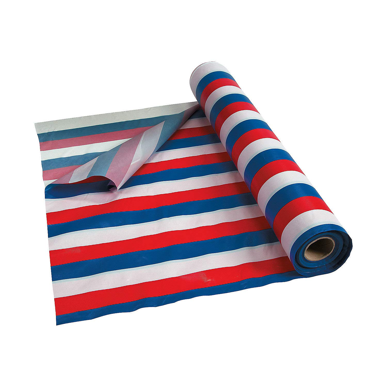 Red White and Blue Striped Tablecloth Roll for Fourth of July (100 ft)