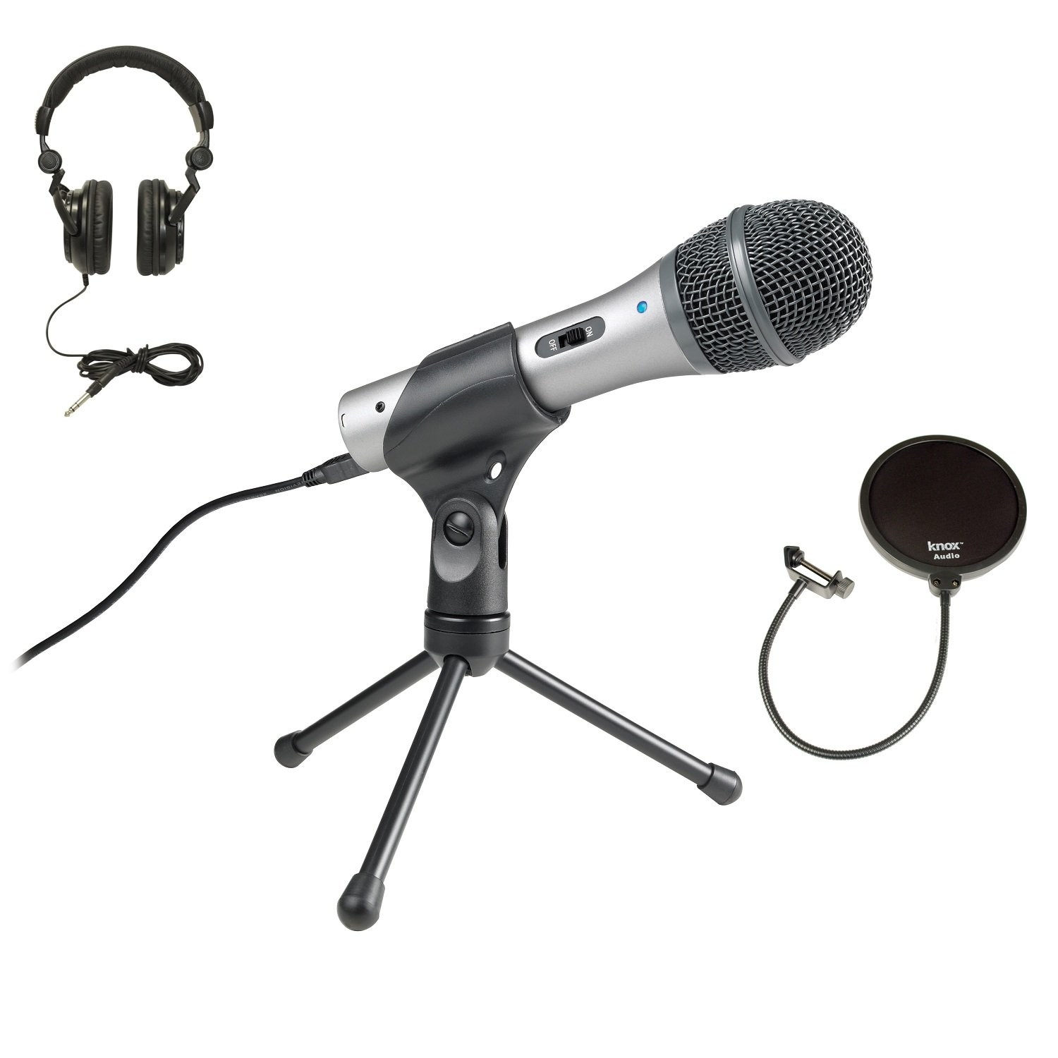 Audio-Technica ATR2100-USB USB/XLR Microphone with Knox Pop Filter and Headphones by Audio-Technica