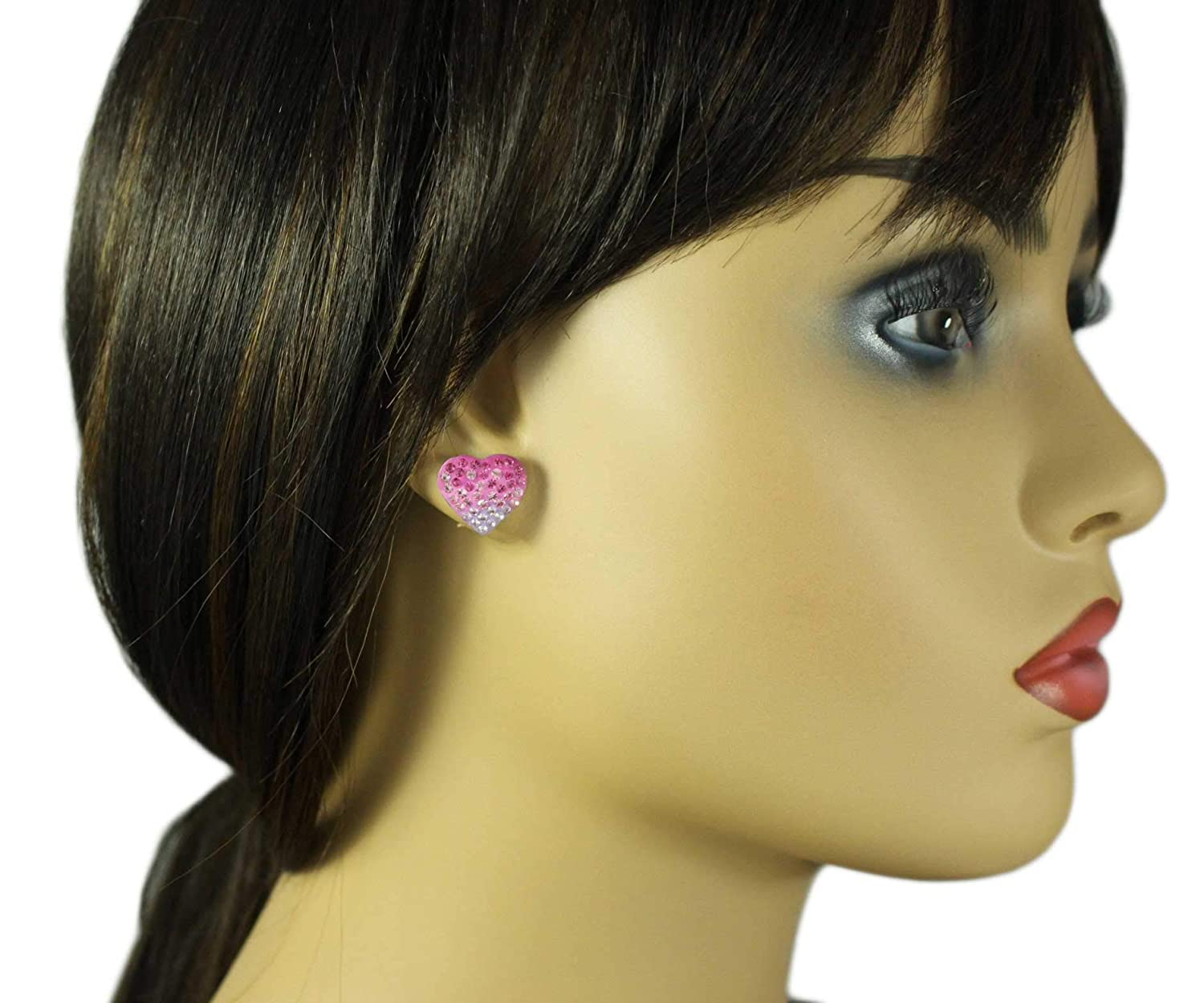 Ombre Pink and Lavender Crystal Heart Pierced Earring