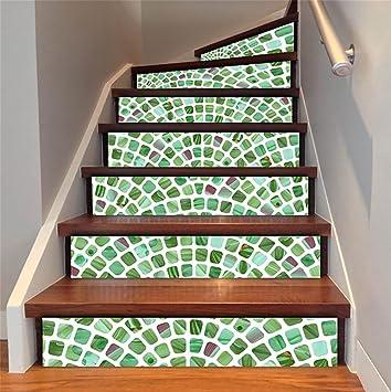 HCC Bodenabziehbilder Retro Mosaik Treppen Dekoration 3D Renoviert DIY  Aufkleber Kunst Herausnehmbar Wasserdicht Selbstklebend